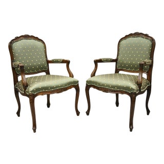 Late 20th Century Ethan Allen French Louis XV Style Green Upholstered Arm Chairs- A Pair For Sale