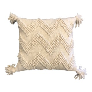 Chevron Pattern Boho Wool Pillow For Sale