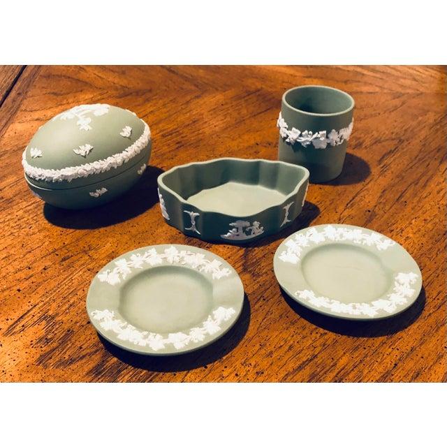 Vintage Wedgwood Sage Green Jasperware Catchall Set- 5 Pieces For Sale - Image 12 of 12