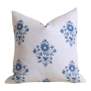 Schumacher Blue Bouquet Pillow Cover For Sale