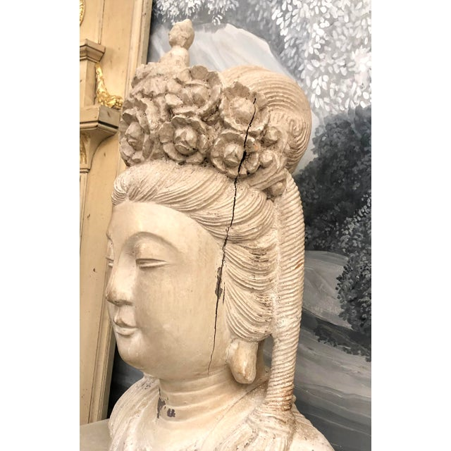 Mid-Century Deity Wood Bust Sculpture For Sale In West Palm - Image 6 of 13