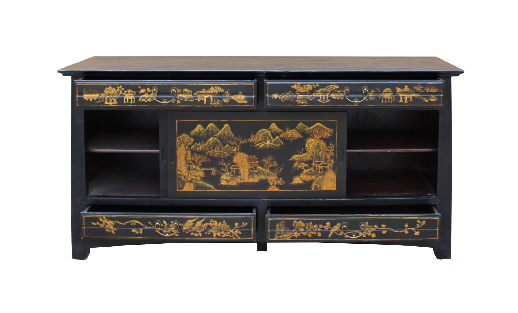 Black Chinese Fujian Golden Graphic Sideboard High Credenza Console Table TV  Cabinet For Sale   Image