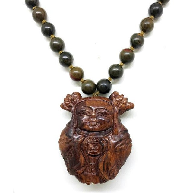 Jasper Bead & Asian Carved Wood Necklace For Sale - Image 4 of 5