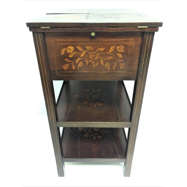 Wood Antique Marquetry Inlaid Dressing Table For Sale - Image 7 of 13