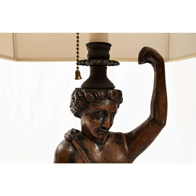 19th Century Mythological Women and Snakes Wood Carved Lamps - a Pair For Sale In Nashville - Image 6 of 11