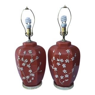 Mid Century Burnt Orange & White Porcelain Floral Table Lamps - a Pair For Sale
