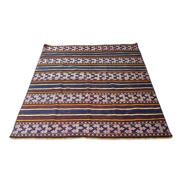 1980s Turkish Anatolian Handmade Cecim Kilim Rug For Sale
