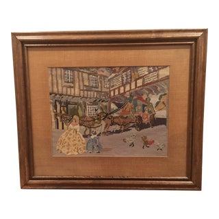Vintage Embroidered European Village Scene For Sale
