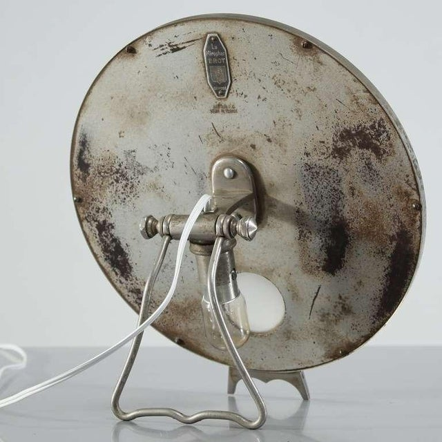 Pair Illuminating nickel 'Brot' vanity mirrors, France, 1930s For Sale - Image 6 of 7