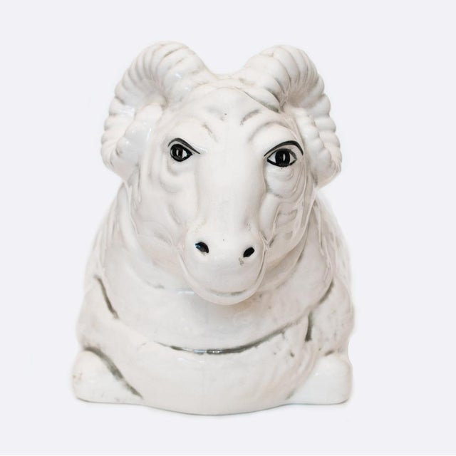 Traditional 1950s Quida Japanese Ceramic Ram Planter For Sale - Image 3 of 11