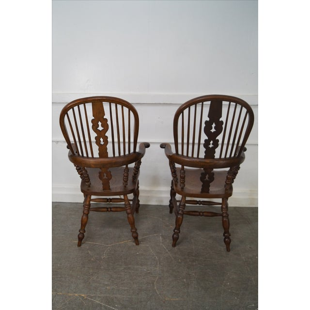 Antique 19th C. English Yew Wood Windsor Arm Chairs - Pair - Image 4 of 10