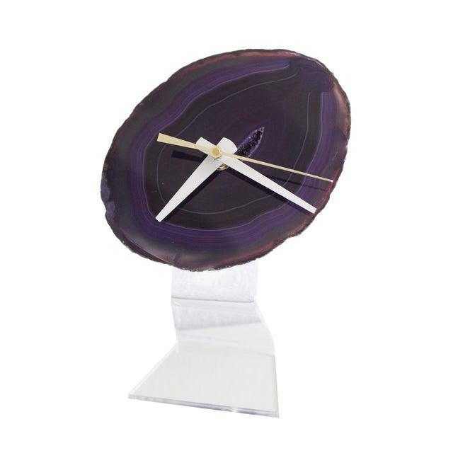 Minimalist Purple SoLo Agate Clock on Lucite - Image 1 of 8