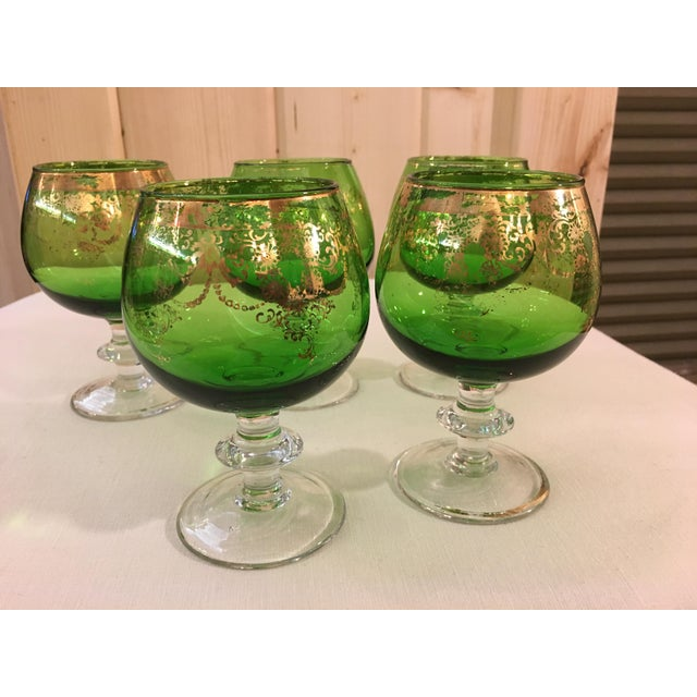 Mid-Century Modern Emerald Green Goblets - Set of 5 For Sale In Dallas - Image 6 of 10