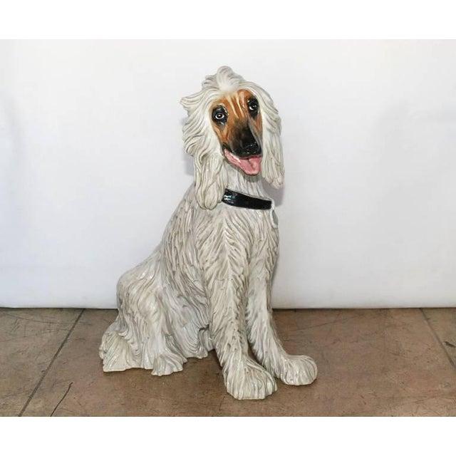 White Vintage Italian Ceramic Dog Sculpture For Sale - Image 8 of 10