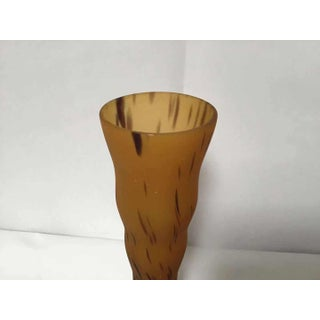 2000s Matte Art Glass Trumpet Vase With Amber Glass and Dark Brown Spots Preview