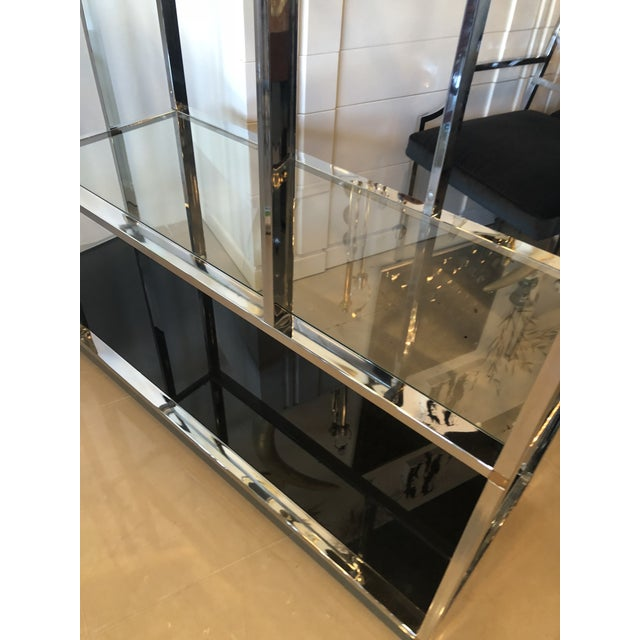 Milo Baughman Vintage Arched Chrome Glass Display Shelf Shelves Etagere For Sale - Image 4 of 13