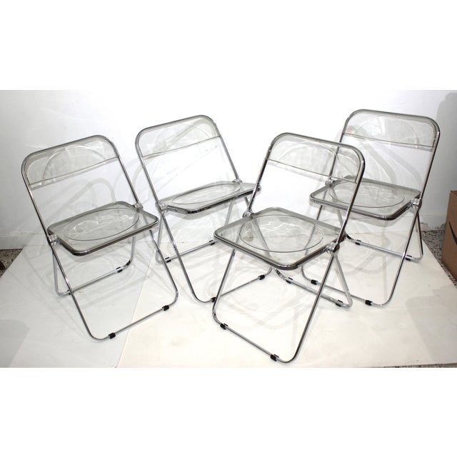 Vintage Casselli Plia Folding Chairs in Lucite and Chrome - a Set of 4 For Sale - Image 13 of 13
