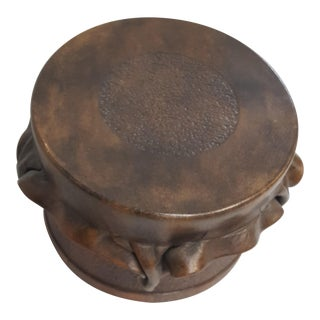Brown Leather Decorative Drum Box For Sale
