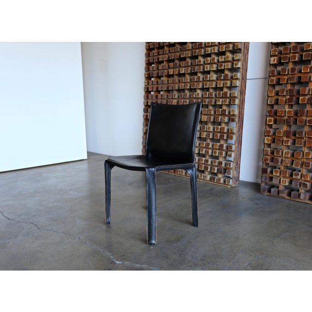 """Animal Skin Black Leather """"Cab"""" Chair by Mario Bellini for Cassina For Sale - Image 7 of 11"""