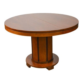 "Stickley Modern 46"" Round Cherry Expandable Dining Table"