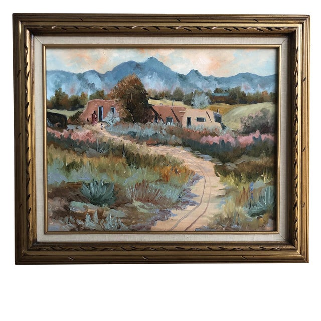 1960s Vintage Jan Wills Western Impressionist Landscape With Adobe Oil on Canvas Painting For Sale