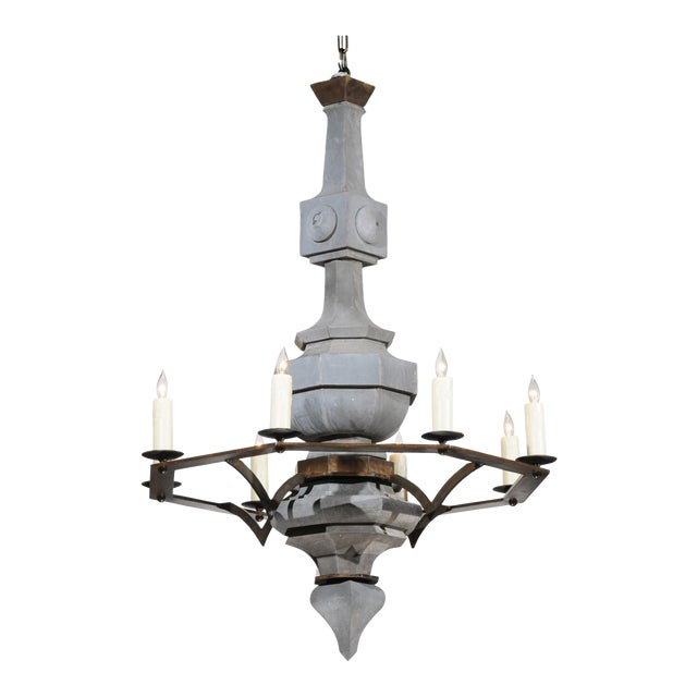Grand Scale Contemporary Industrial Chandelier Made with 19th Century Zinc Finial For Sale