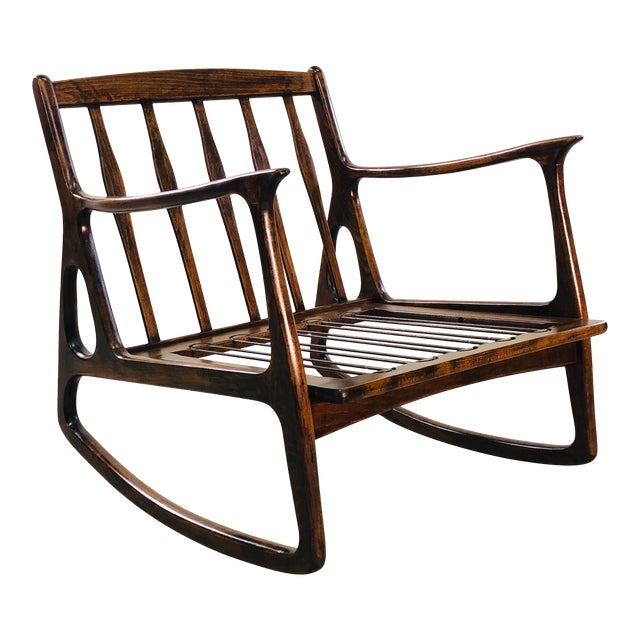 Vintage Italian Beech Wood Rocking Chair For Sale