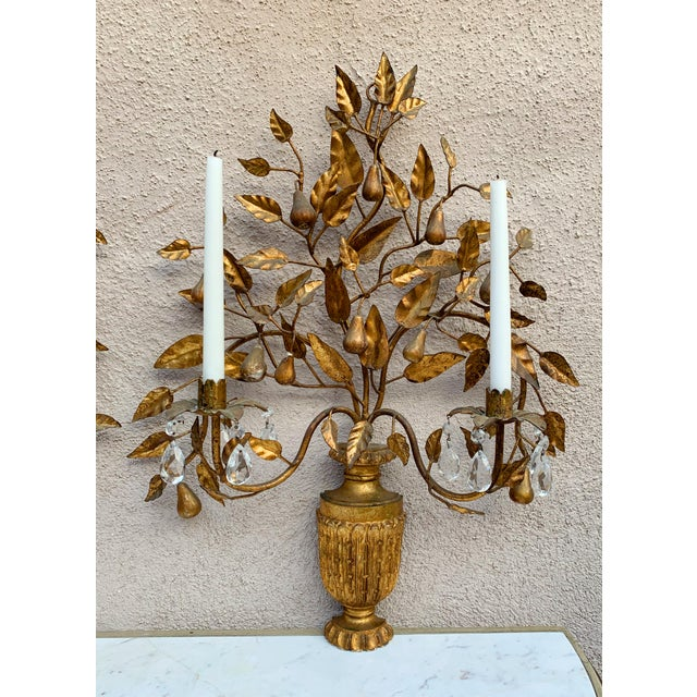 Hollywood Regency Giltwood Wall Sconces - a Pair For Sale - Image 11 of 12