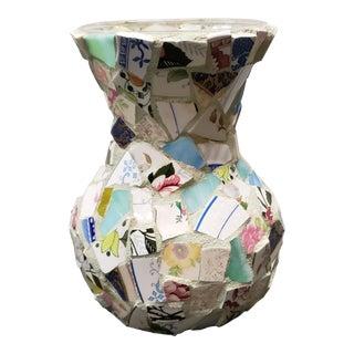 Vintage Folk Art Porcelain/Pottery Shards Memory Vase For Sale