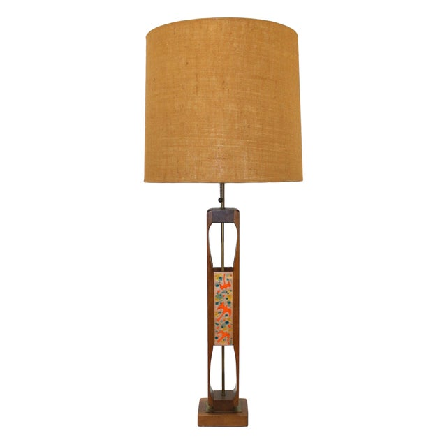 Offered for consideration is a MASSIVE vintage 1960s sculptural teak lamp with enamel on copper inlays by Modeline Company...