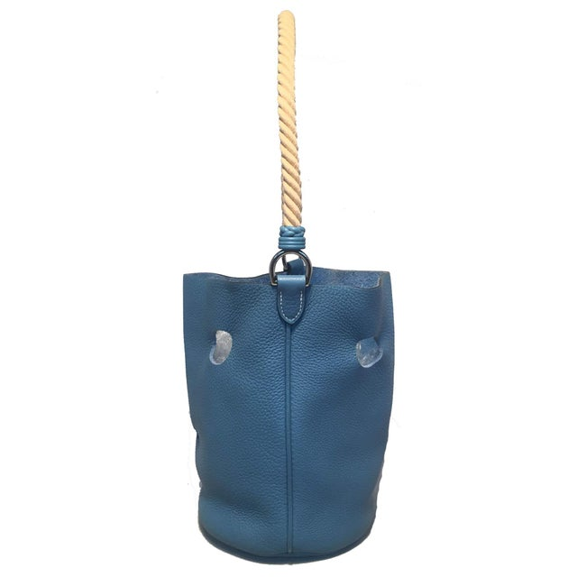2f626282481b Contemporary Hermes Mangeoire Blue Jean Taurillon Clemence Leather Rope  Handle Bucket Bag For Sale - Image