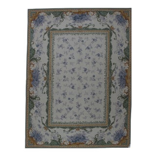 Victorian Needlepoint Design Hand Woven Wool Rug - 9' X 12' For Sale