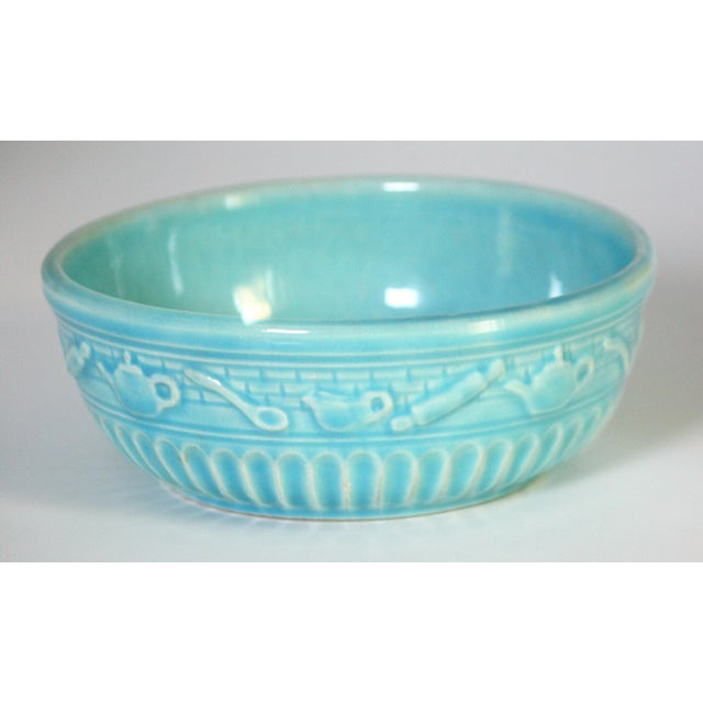 Arts & Crafts Roseville Pottery Turquoise Bowl For Sale - Image 3 of 8