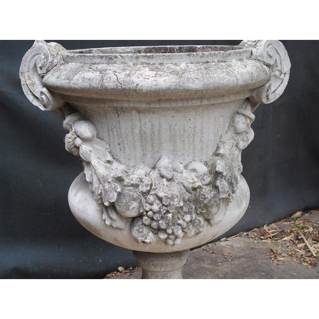 Metal Pair of Large Antique Cast Stone Urns From Italy, Circa 1915 For Sale - Image 7 of 13