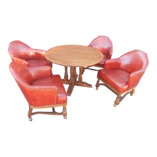 20th Century Traditional Solid Oak Game Table With 4 Rolling Chairs - 5 Pieces For Sale