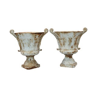 French Cast Iron Painted Urns, a Pair
