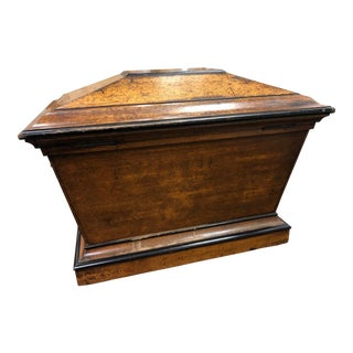 Antique English Oak & Yew Wine Cooler - Dated 1787 For Sale