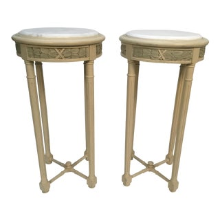 Vintage Louis XVI Style Marble Top Stands - a Pair For Sale