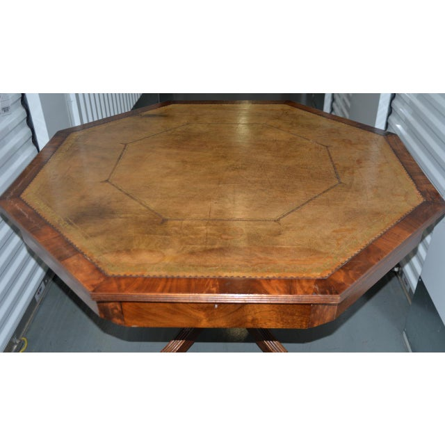 Animal Skin 19th Century Mahogany & Embossed Leather Octagonal Rent Table For Sale - Image 7 of 10