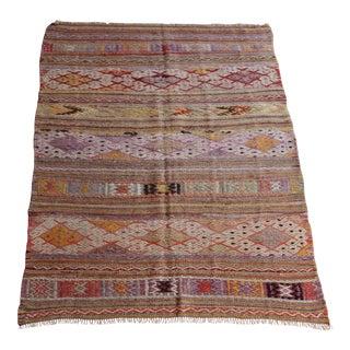 Vintage Tribal Cicim Kilim Rug For Sale