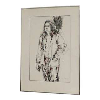 Mid-Century Modern Sophie Fordon Drawing Picture of Girl Black Red 1970s Signed For Sale