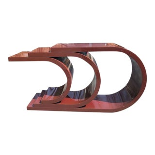1970s Mid Century Modern Sculptural Lacquer Console Table Karl Springer Style For Sale