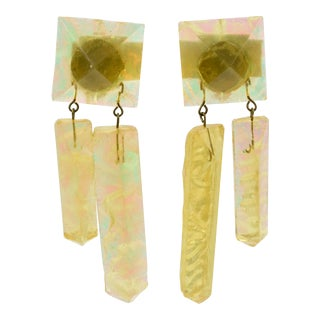 Oversized Yellow Ice Rock Lucite Dangling Clip on Earrings For Sale