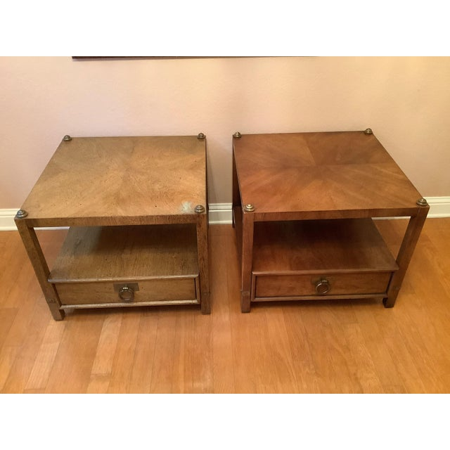 Vintage Henredon Wood + Brass End Tables - a Pair For Sale In Austin - Image 6 of 13