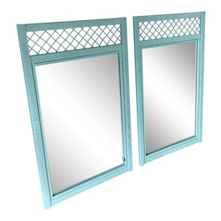 1980s Boho Chic Henry Link Professionally Lacquered Wrapped Rattan Trellis Mirrors - a Pair For Sale