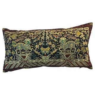 Embroidered Foo Dragon Boudoir Pillow