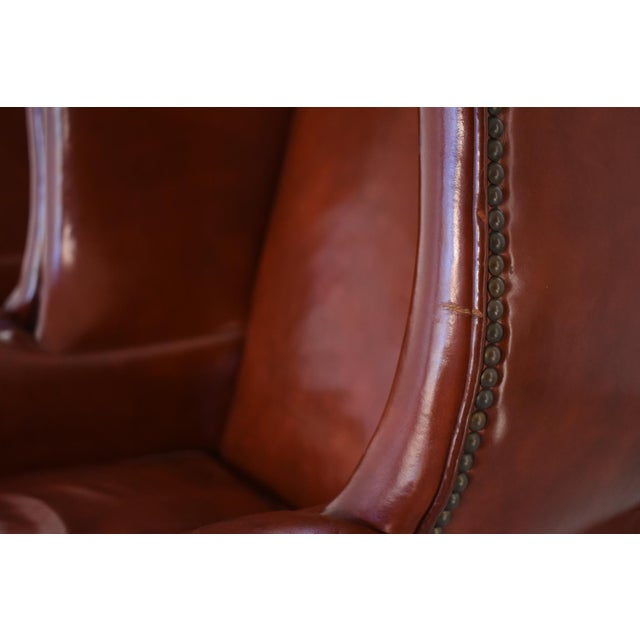 Vintage Marbled Red Leather Georgian H-Base Wingback Fireside Chairs - Pair For Sale - Image 12 of 13