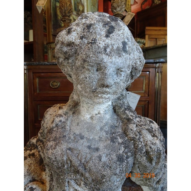 Gray Pair of Vintage French Stone Statues For Sale - Image 8 of 13