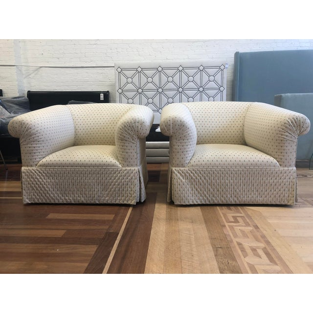 Custom Rolled Arm Swivel Chairs - a Pair For Sale - Image 9 of 9