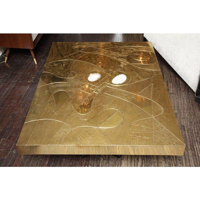Spectacular Etched Brass and Double Agate Rectangular Cocktail Table For Sale - Image 10 of 10